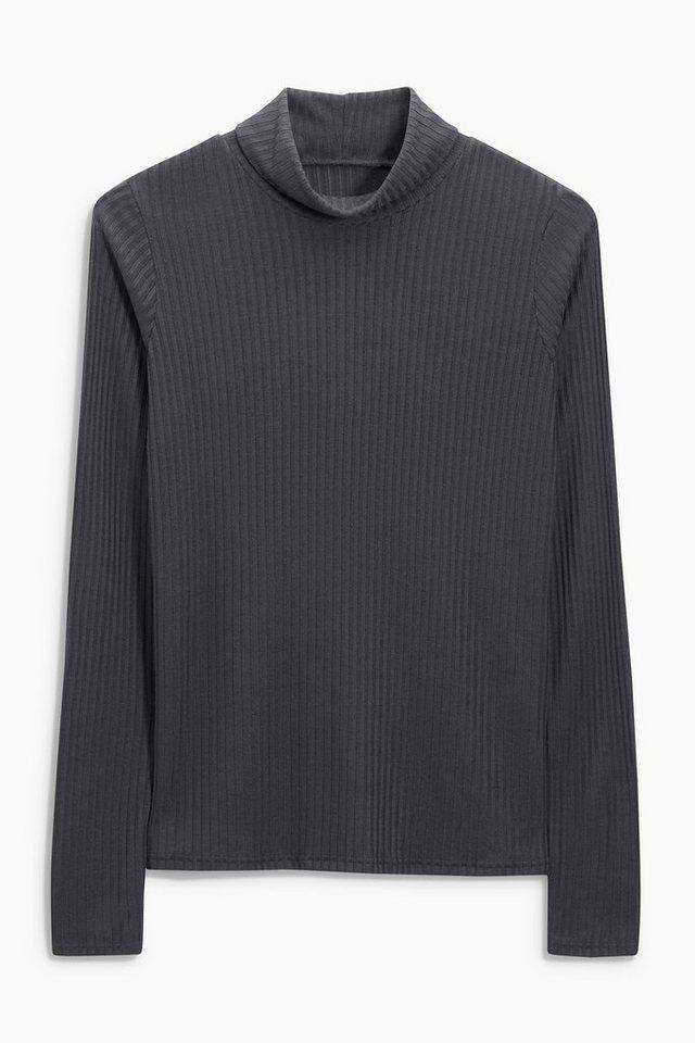 Next Gerippter Pullover mit Rollkragen in Charcoal