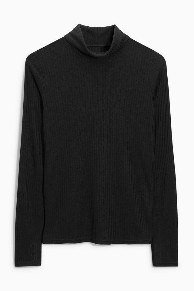 Next Gerippter Pullover mit Rollkragen in Black