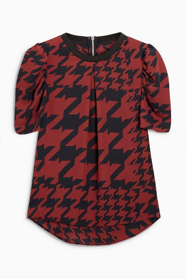 Next T-Shirt mit Puffärmeln in Brown Regular
