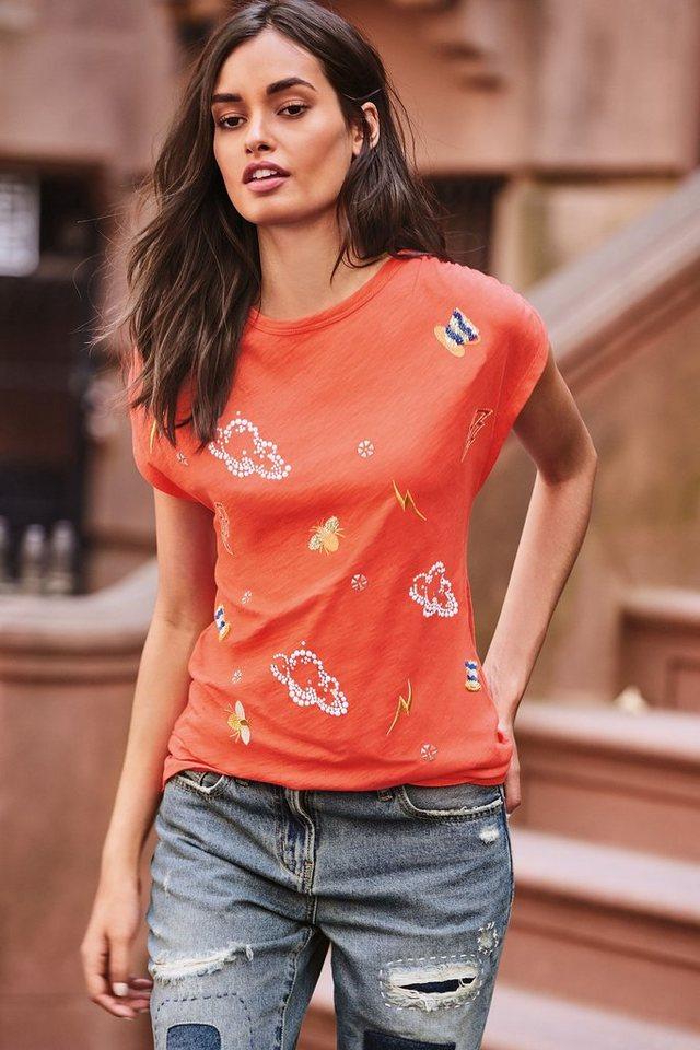 Next Verziertes T-Shirt mit Grafikmotiven in Orange