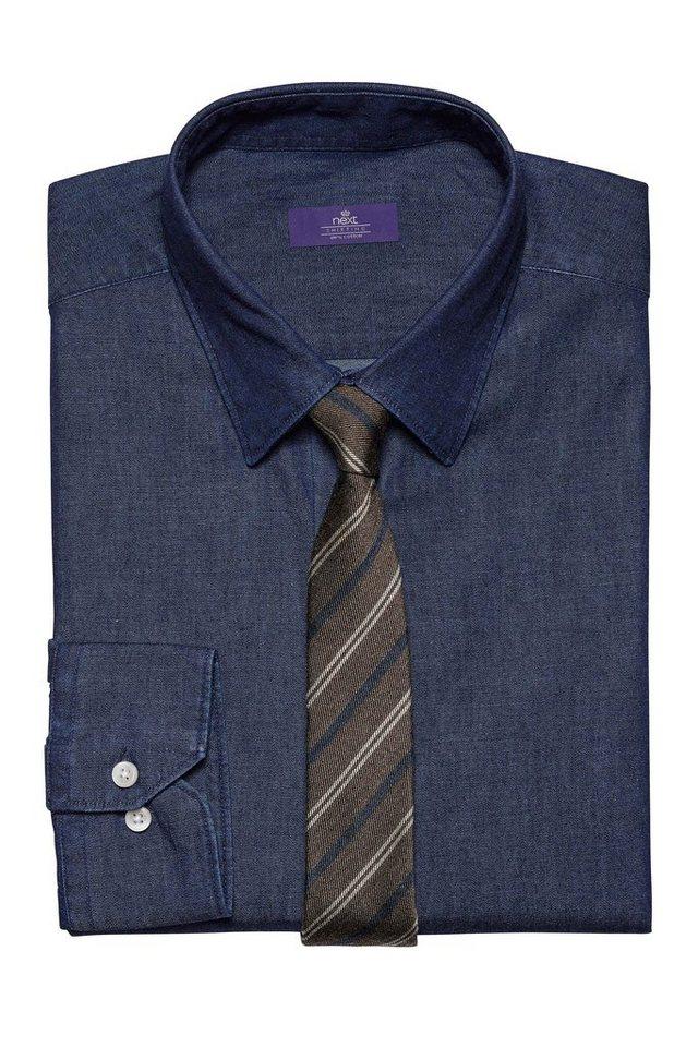 Next Denim-Hemd und Krawatte im Set 2 teilig in Denim Blue