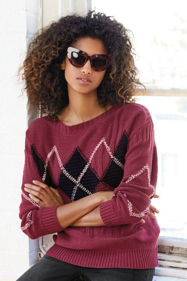 Next Pullover mit Argyle-Muster in Berry