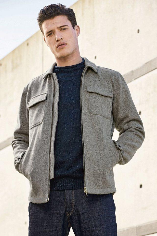 Next Hemdjacke aus Wollgemisch in Grey