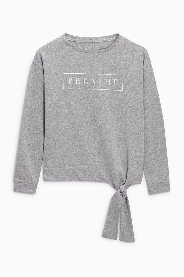 Next Sweatshirt mit Grafik und Knotendetail in Grey