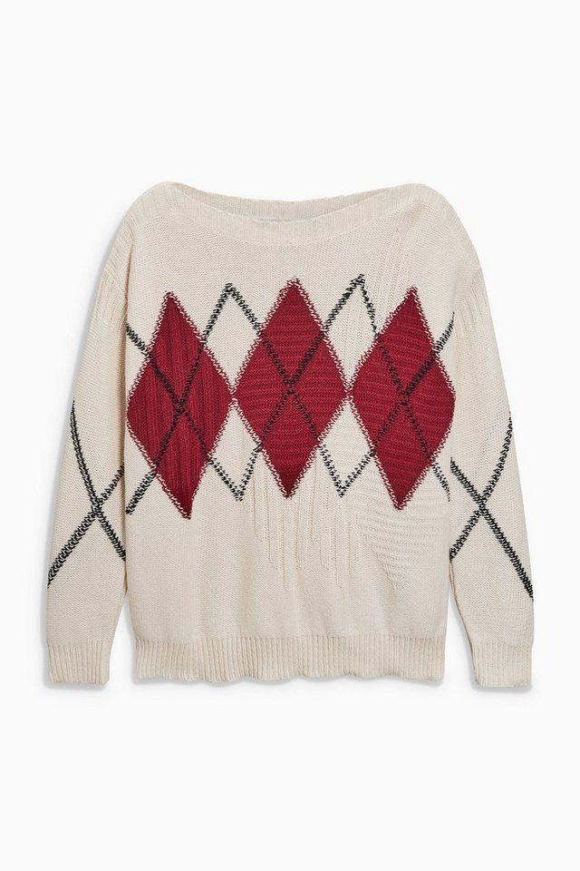 Next Pullover mit Argyle-Muster in Ecru