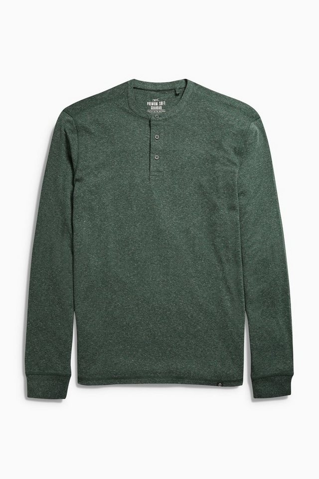 Next Shirt mit Knopfleiste in Green Marl