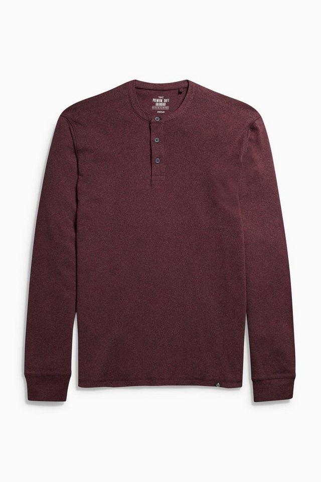 Next Shirt mit Knopfleiste in Burgundy Marl