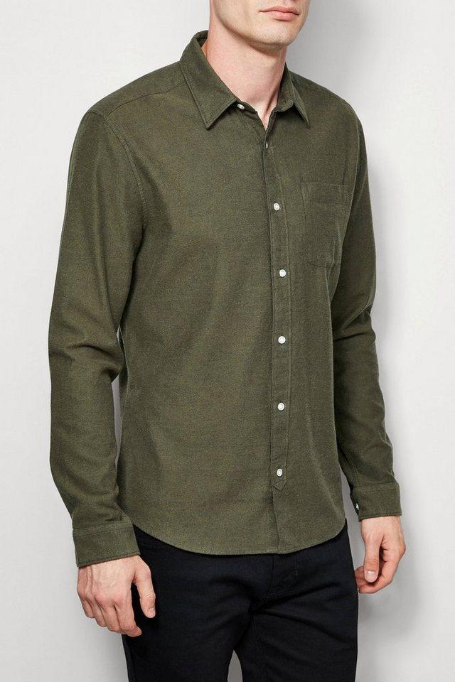 Next Twill-Hemd mit weich angerauter Oberfläche in Khaki