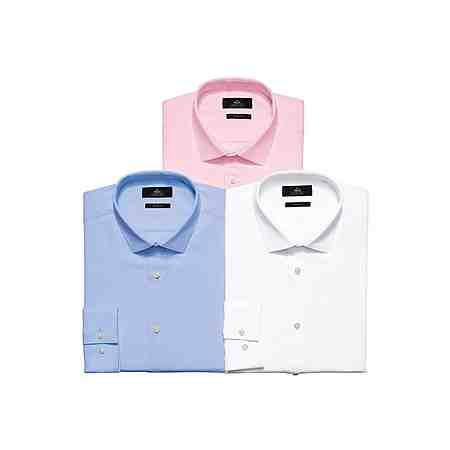 Next Strukturierte Hemden, Weiß, Blau und Pink, 3er-Pack 3 teilig
