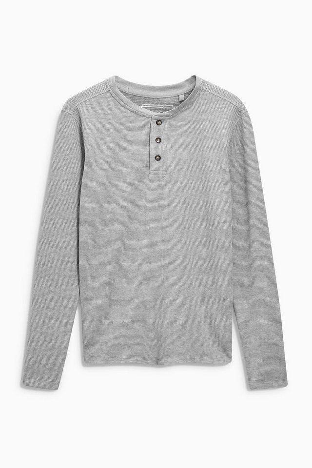 Next Shirt mit Knopfleiste und Waffelmuster in Grey