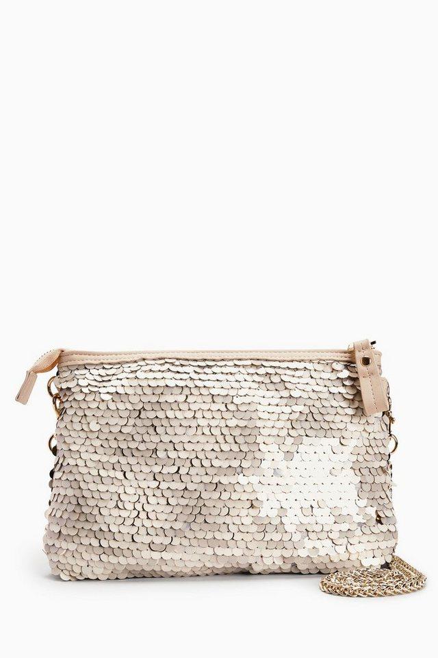 Next Handtasche in Paillettenoptik mit Reißverschluss in Gold
