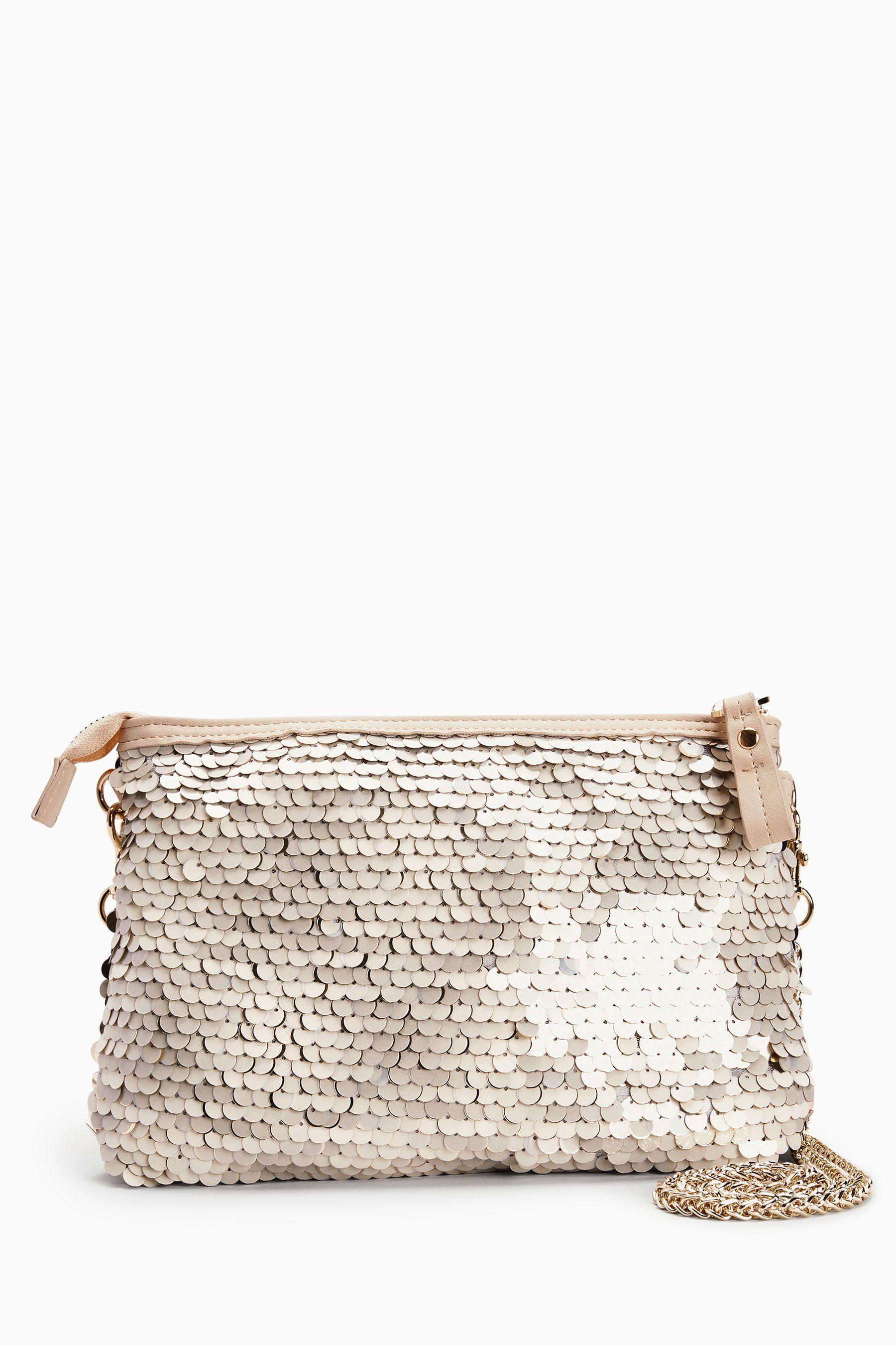 Next Handtasche in Paillettenoptik mit Reißverschluss