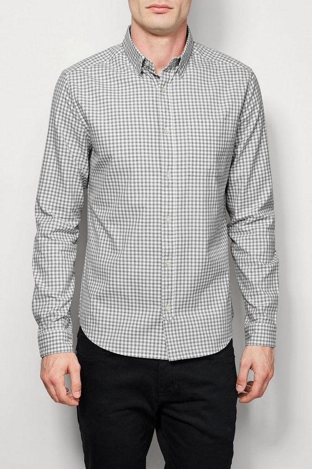 Next Hemd mit Vichykaro in Grey/White