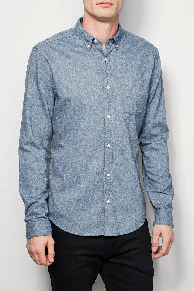Next Twill-Hemd mit weich angerauter Oberfläche in Light Blue
