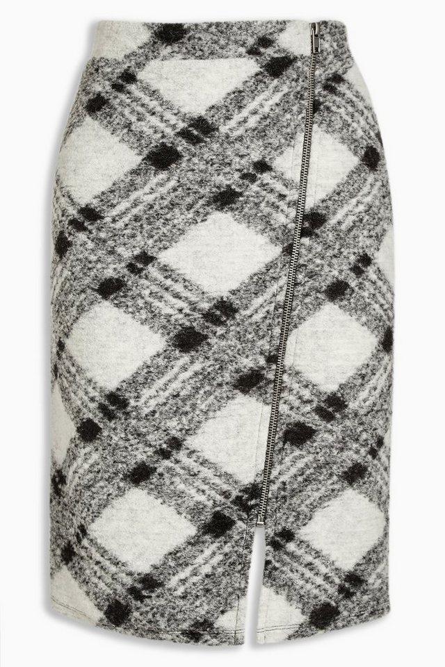 Next Karierter Rock aus Wolle mit Reißverschluss in Monochrome Check
