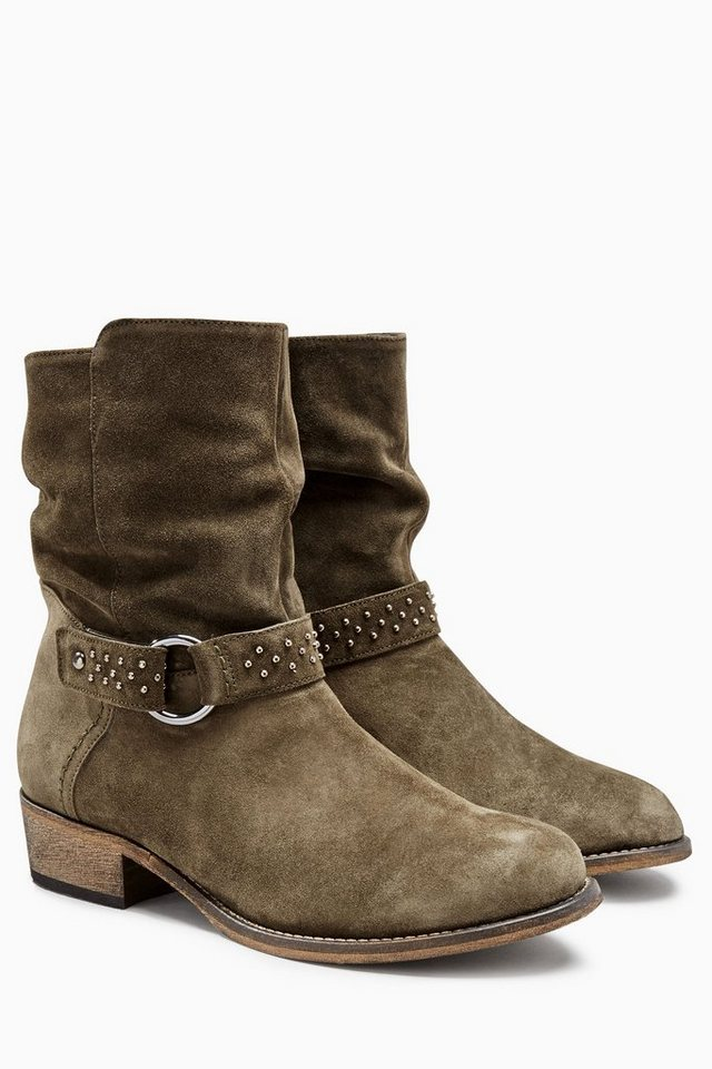 Next Legere Stiefelette aus Leder mit Riemendetail in Khaki Regular