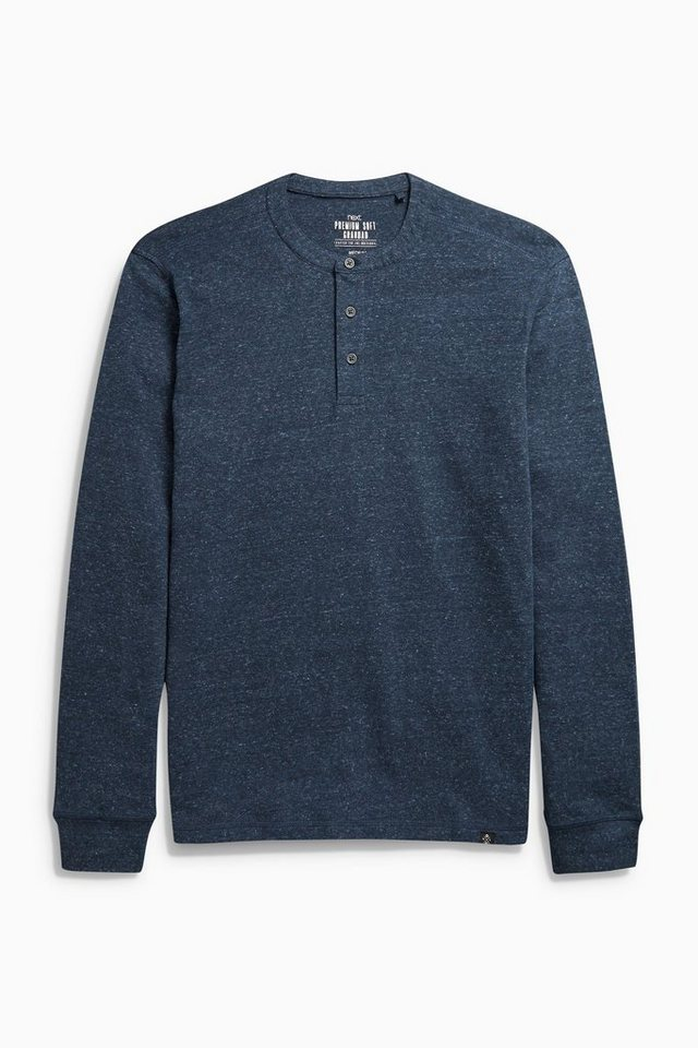 Next Shirt mit Knopfleiste in Navy Marl