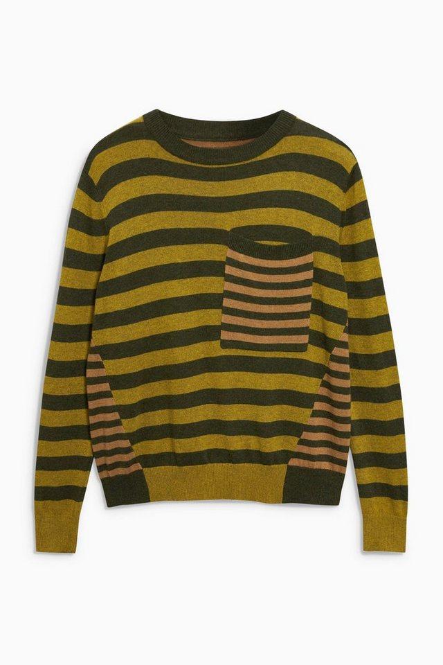 Next Pullover mit Brusttasche in Green Stripe