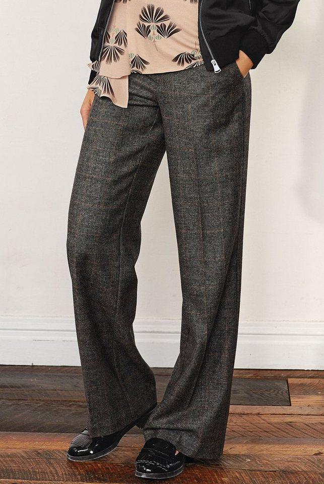 Next Hose aus Premium-Wolle mit weitem Bein und feinem Karomuster in Grey