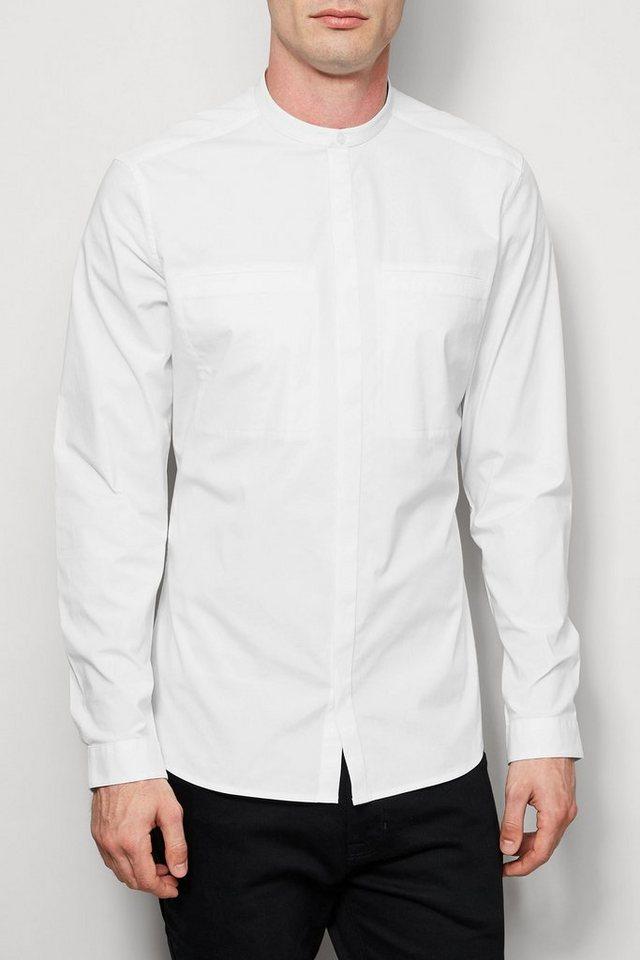 Next Kragenloses Hemd mit Stretch und langen Ärmeln in White