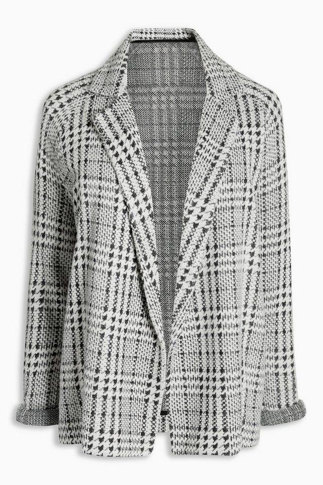 Next Strukturierte Jacke mit Hahnentrittmuster in Black/White Regular