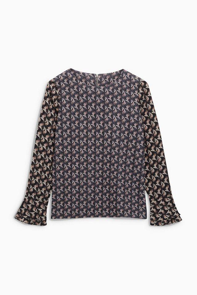 Next Shirt mit Rüschenärmeln in Grey Ditsy Print