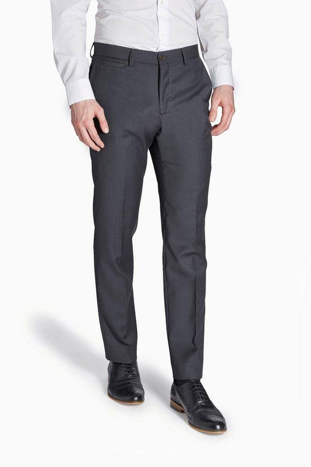 Next Hose aus Wollgemisch mit Flatfront in Charcoal Pindot Reg. Fit