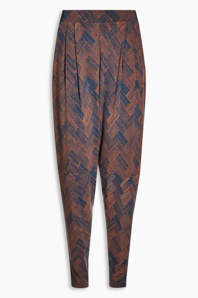 Next Jersey-Hose mit schmal zulaufendem Bein in Navy Scratch Print