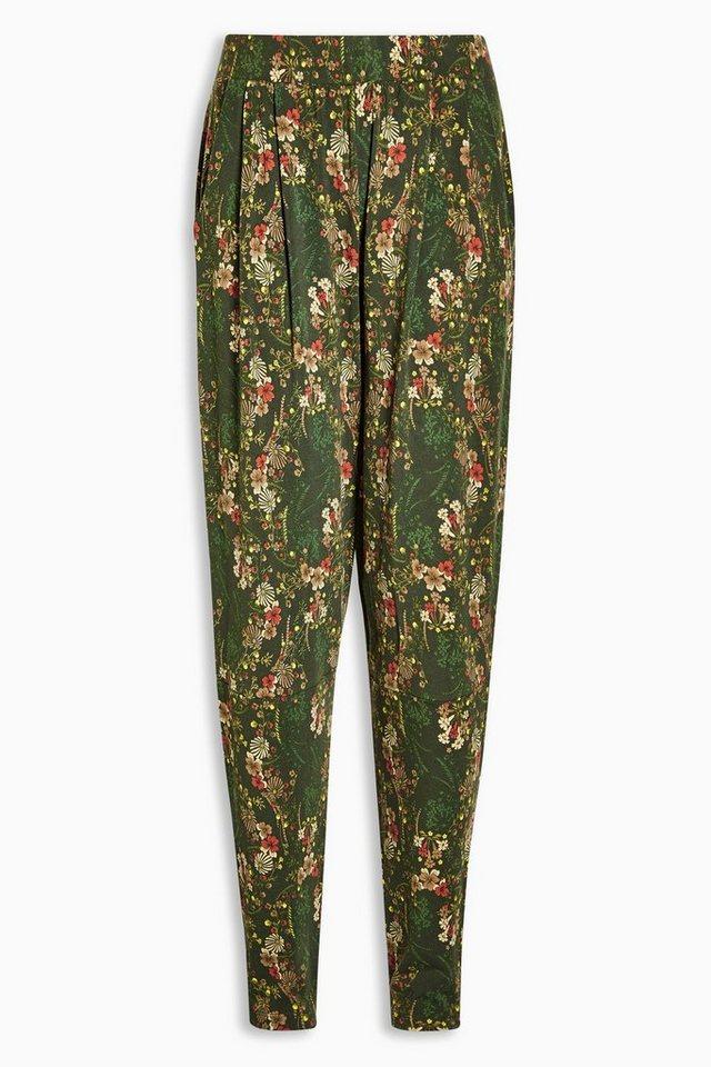 Next Jersey-Hose mit schmal zulaufendem Bein in Green Floral Regular