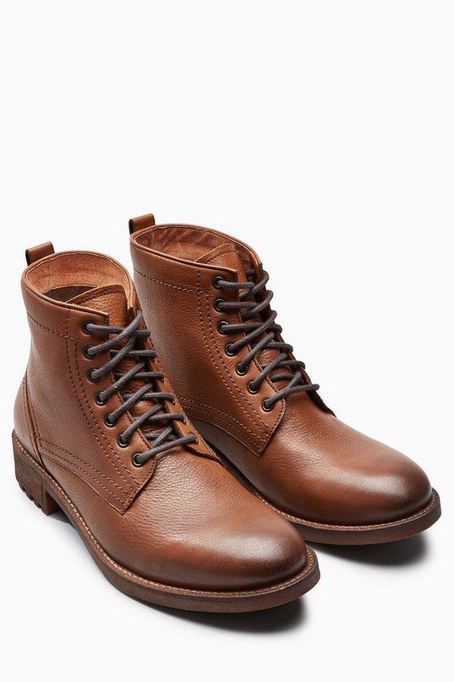 Next Stiefel aus Leder mit Profilsohle in Tan