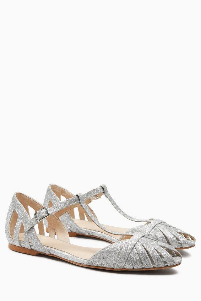 Next Sandalette mit Peeptoe und Zehensteg in Silver