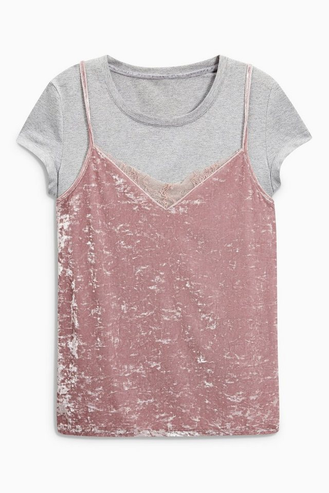 Next T-Shirt mit Samt-Top 2 teilig in Blush/Grey