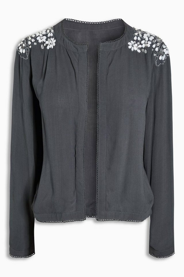 Next Jacke mit Zierperlen in Charcoal