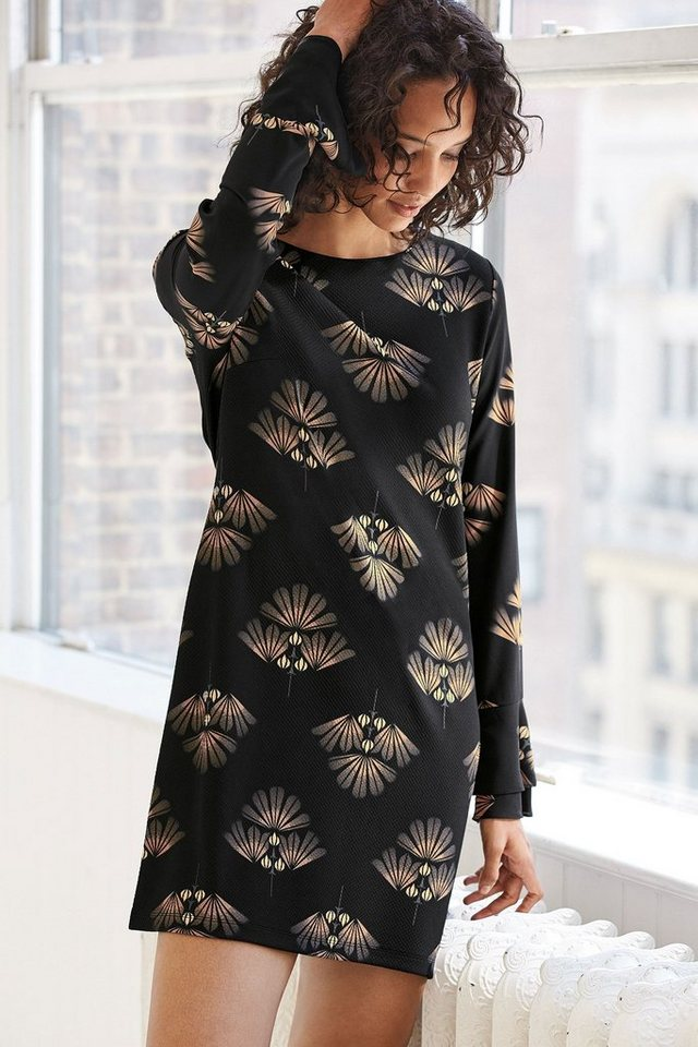 Next Kleid mit Rüschenärmeln in Charcoal Print Regular