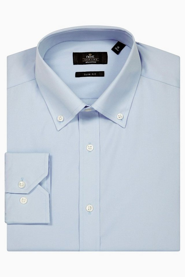 Next Hemd mit Button-Down-Kragen in Blue Slim Fit Single Cuff