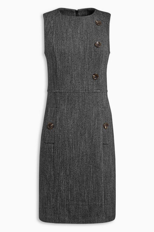Next Kleid mit Fischgrätmuster und Knopfdetails in Black Regular