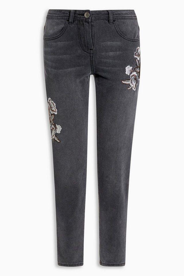 Next Jeans mit floralen Stickereien in Washed Black Regular