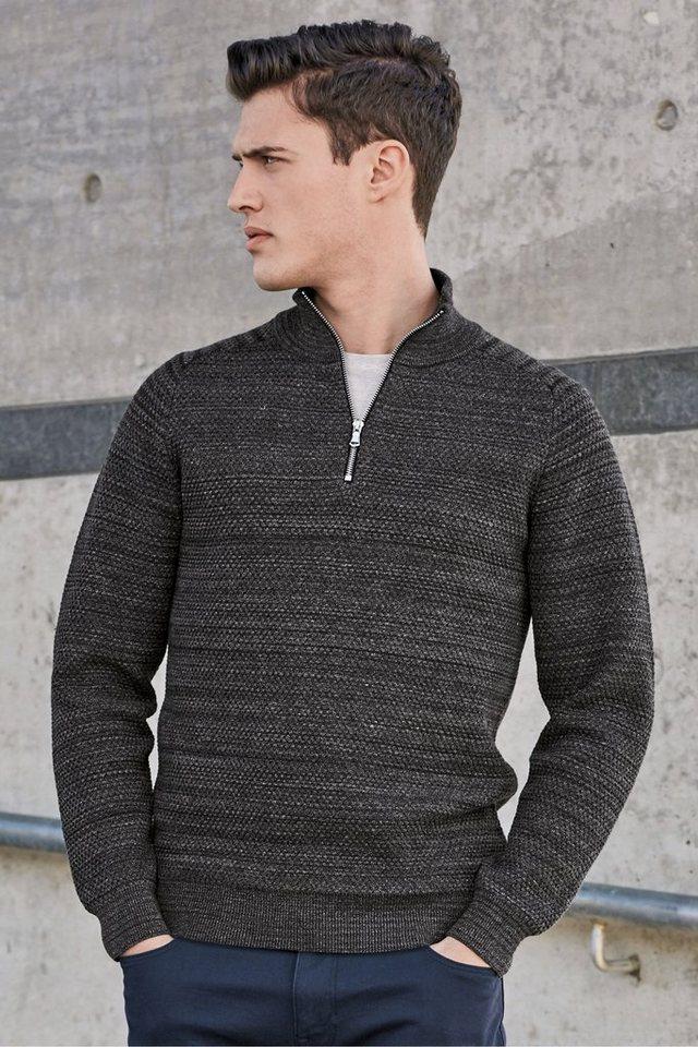 Next Strukturierter Pullover Reißverschlusskragen in Charcoal