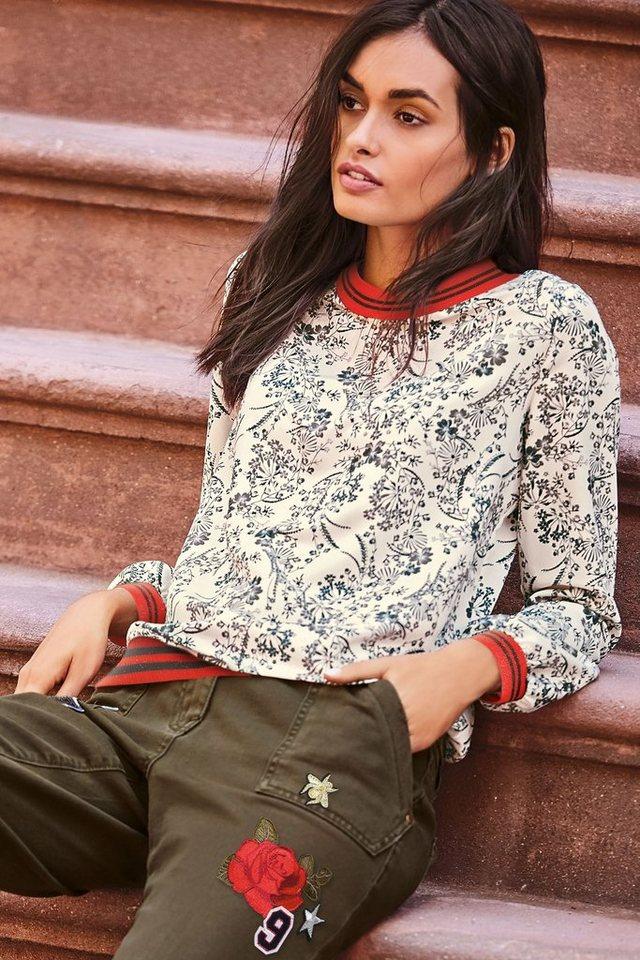 Next Shirt mit Rippenstrickdetails in Floral