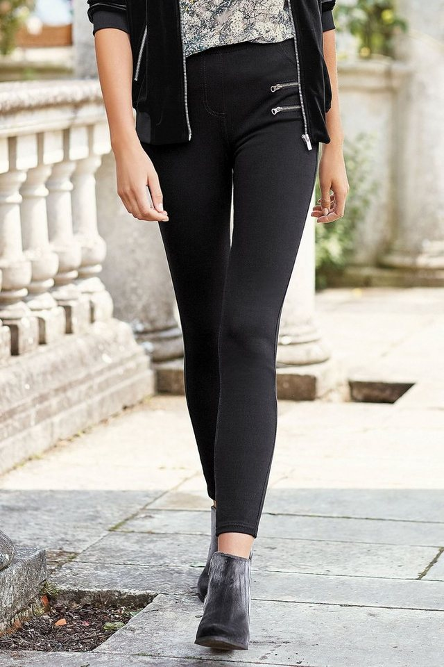 Next Denim-Leggings mit Reißverschluss in Black Regular