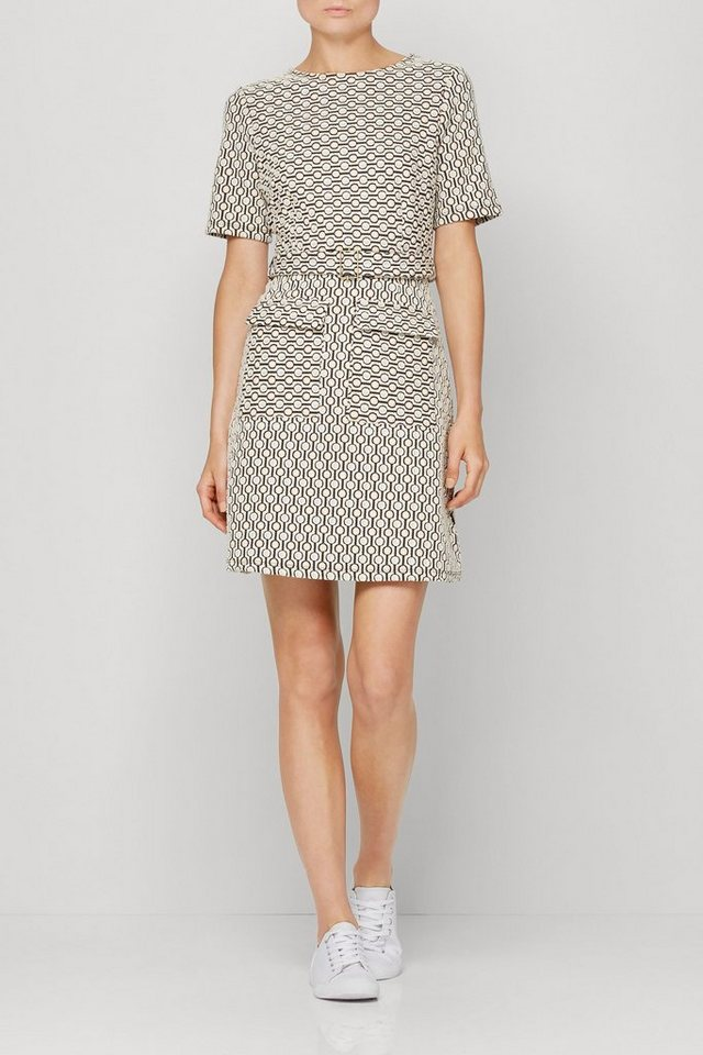 Next Kleid mit geometrischem Jacquardmuster in Tan/Cream