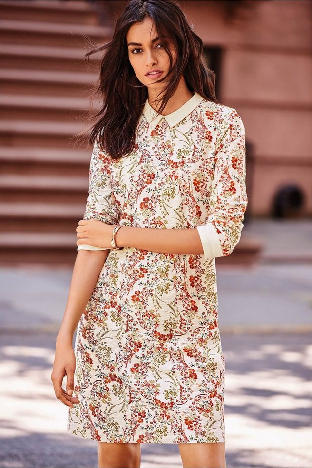 Next Kleid mit Kragendetail in Ecru Floral Regular