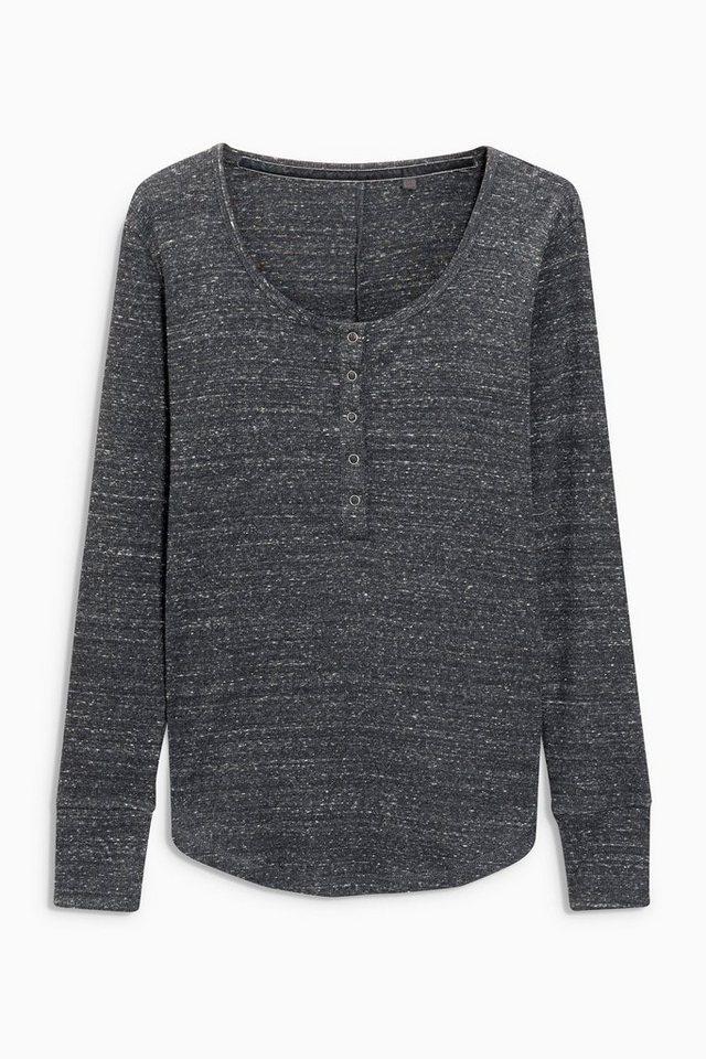 Next Shirt mit Knopfleiste in Grey