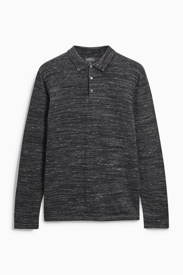 Next Langärmeliges Poloshirt in Charcoal
