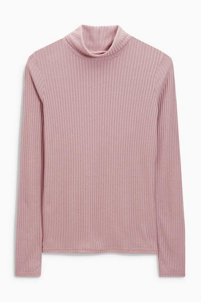 Next Gerippter Pullover mit Rollkragen in Pink