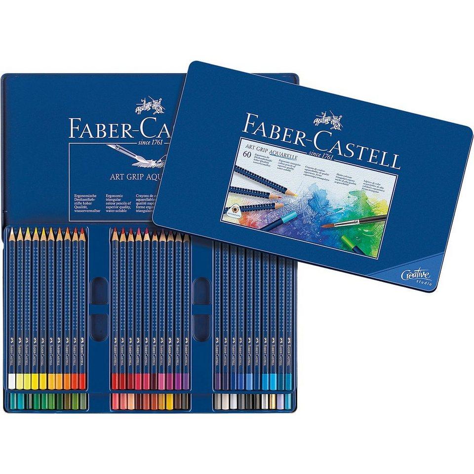 Faber-Castell Aquarell Buntstifte Art Grip Aquarelle im Etui, 60 Farben