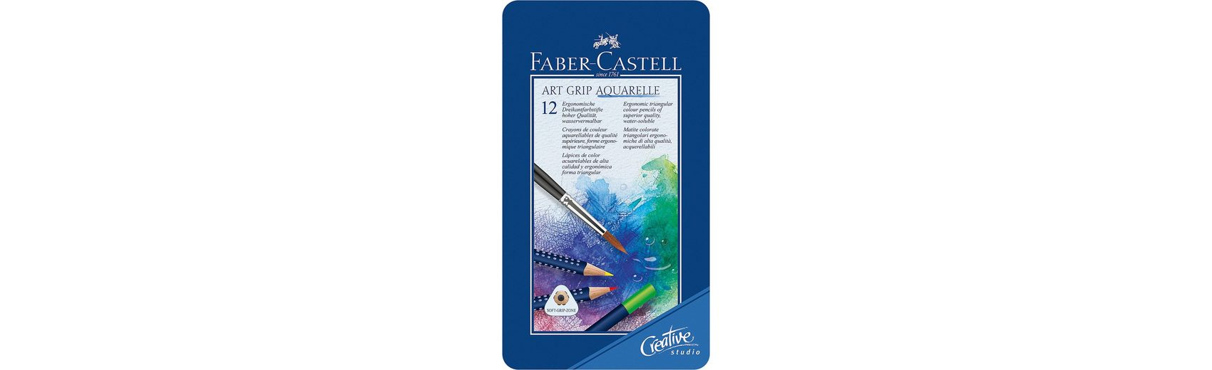 Faber-Castell Aquarell Buntstifte Art Grip Aquarelle im Etui, 12 Farben