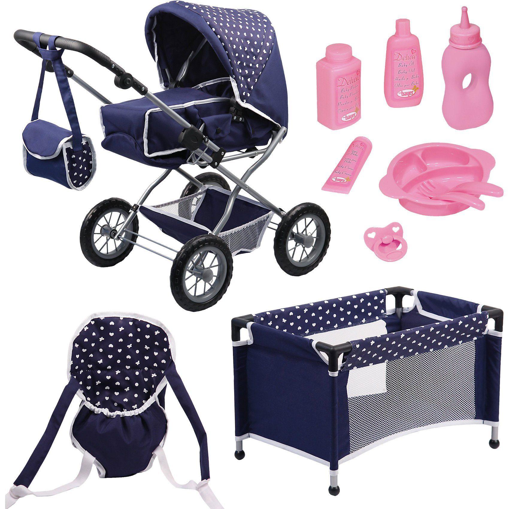 BAYER Kombi-Puppenwagen und Komplett-Set blau für die Babypuppe