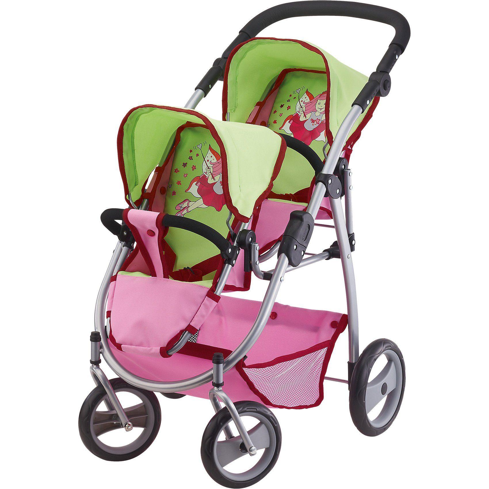 Bayer Zwillingspuppenwagen grün/pink