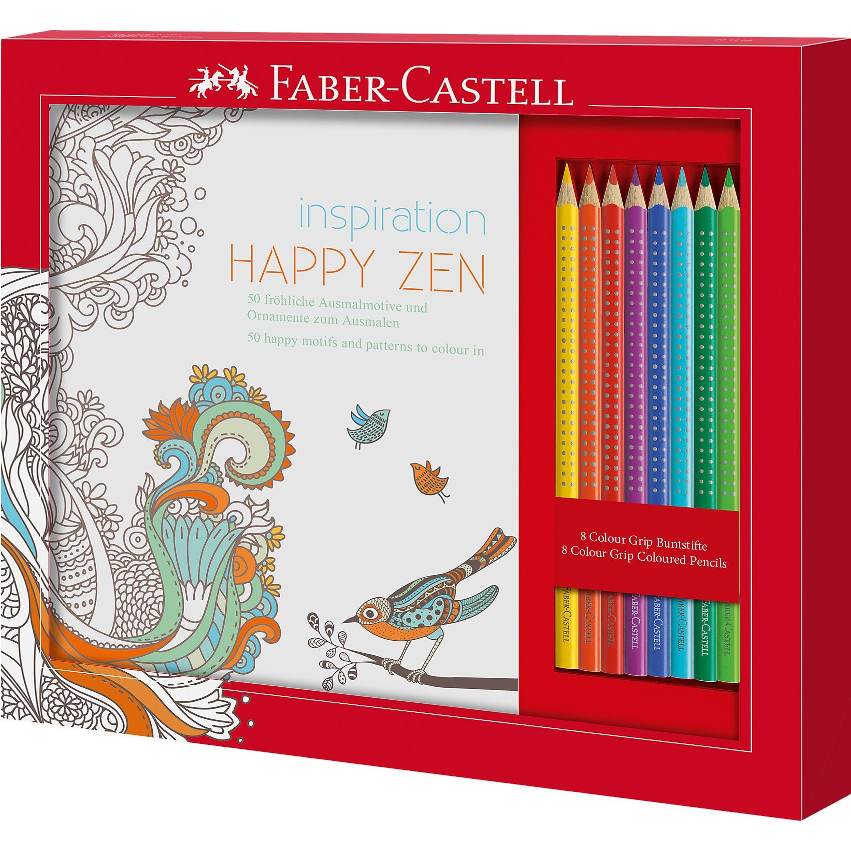Faber-Castell Malbuchset Happy Zen Colour Grip, 9-tlg.